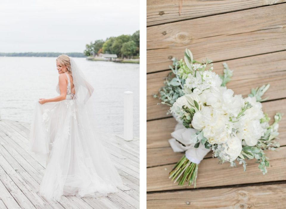 All White Bridal Party Bridesmaids Dresses at Southern Wedding on Lake Gaston by Costola Photography