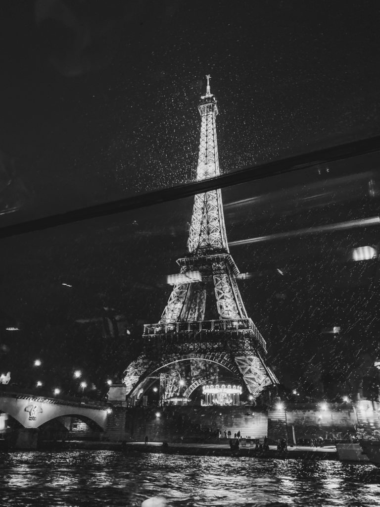 Eiffel Tower at night on seine river cruise by Costola Photography French France Wedding Photographers