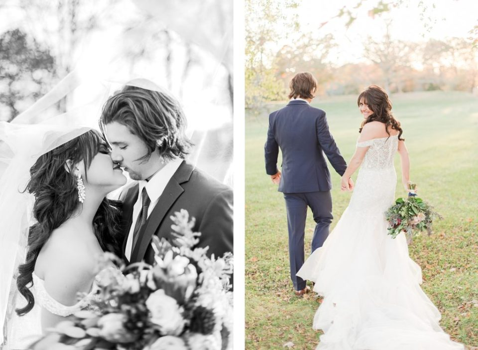Bride and Groom Portraits at The Great Marsh Estate in the fall photographed by Costola Photography