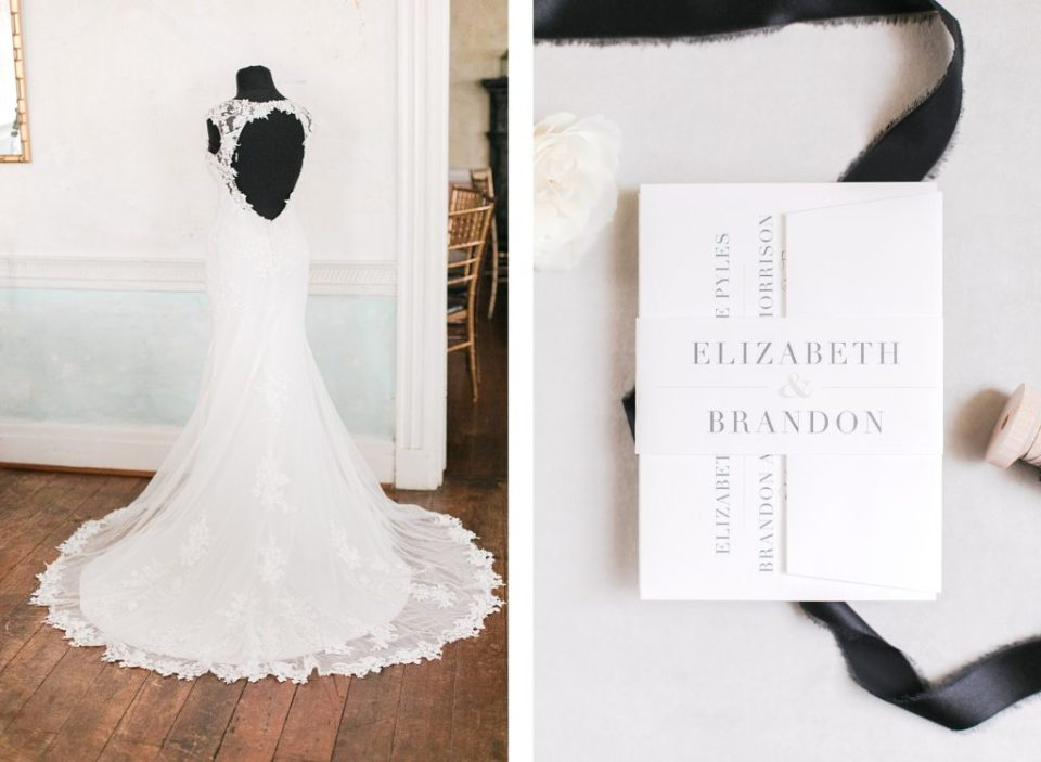 dress and invitation suite for black and white winter wedding at the kyle house by costola photography