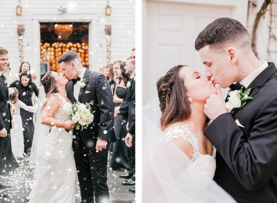 snow exit for black and white winter wedding at the kyle house by costola photography