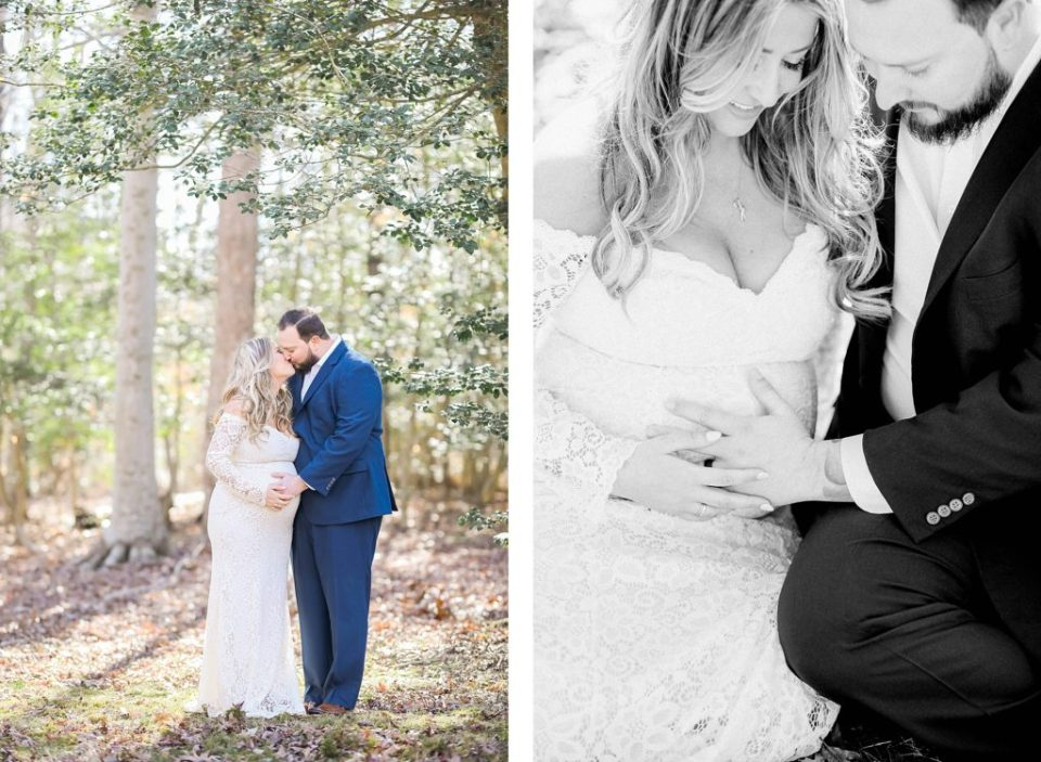 maternity session in the winter wearing a white gown in the woods by costola photography