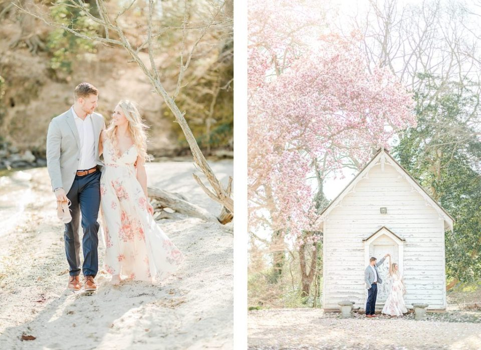 Couple under cherry blossoms at Greenwell State Park for engagement session by Costola Photography