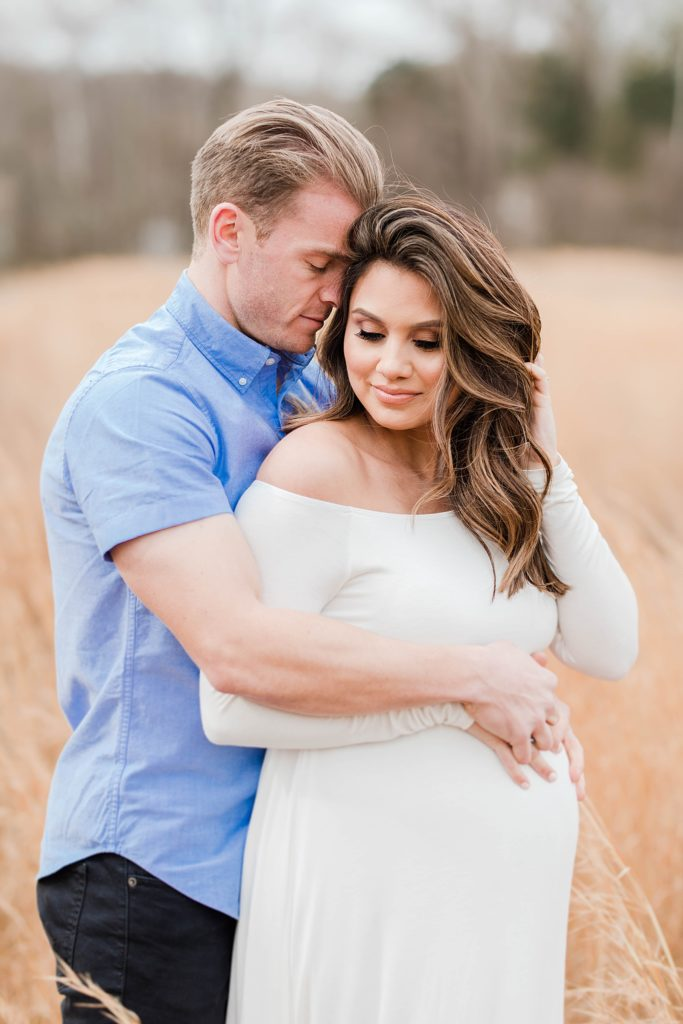 White Maternity Dress in Fields in Southern Maryland by Costola Photography