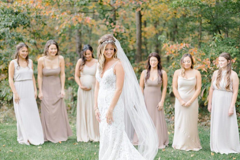 Bridesmaids First Look at Boho Chic Shenandoah Woods Wedding