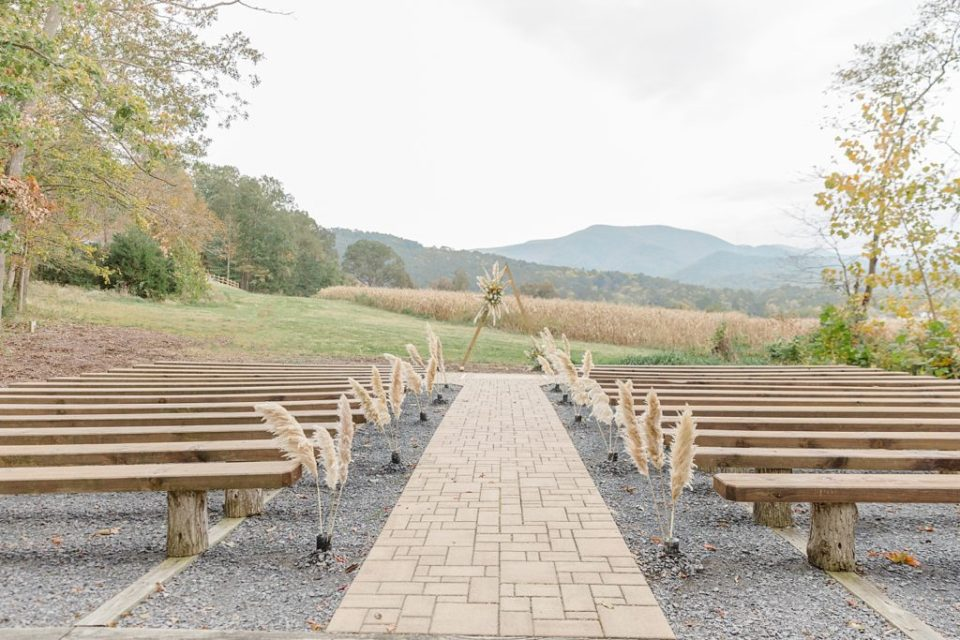 Ceremony at Boho Chic Shenandoah Woods Wedding