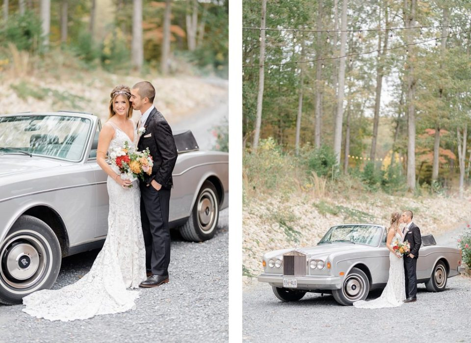 Rolls Royce Car and Bride and Groom at Boho Chic Shenandoah Woods Wedding