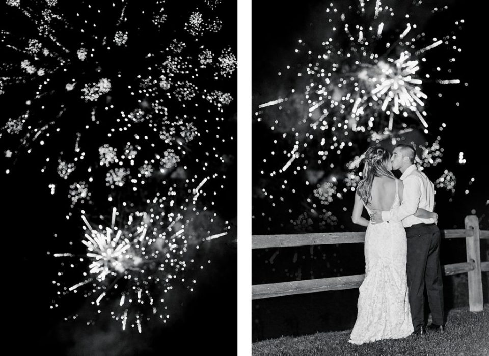 Fireworks at Boho Chic Shenandoah Woods Wedding