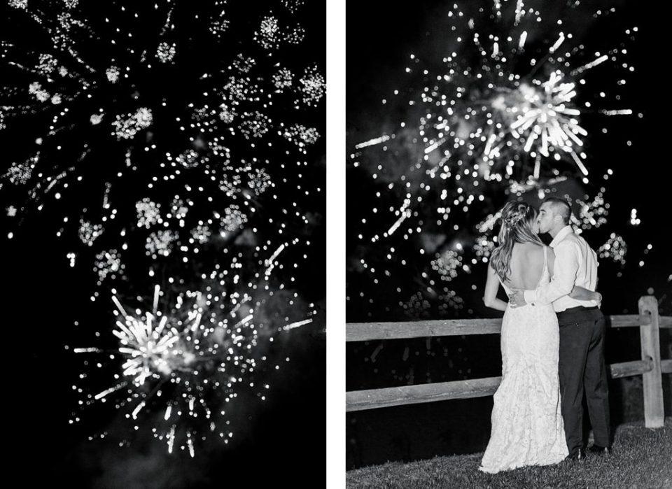 Fireworks at Boho Chic Shenandoah Woods Wedding
