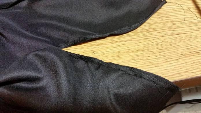 edges folded under