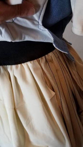 under the front--overskirt and mock apon are one piece
