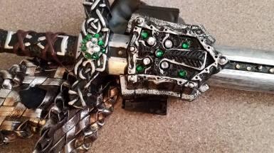 extra gems on sword, skull covered up