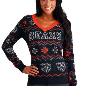 Chicago Bears Women's Light Up V-Neck Bluetooth Ugly Christmas Sweater