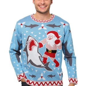 Men's Santa vs Shark Ugly Christmas Costume Sweater 1X 2X 3X