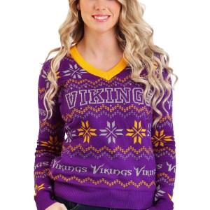 Minnesota Vikings Light Up V-Neck Bluetooth Sweater for Women