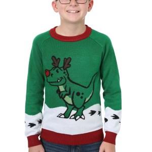 Reindeer Dinosaur Ugly Christmas Sweater for Boys