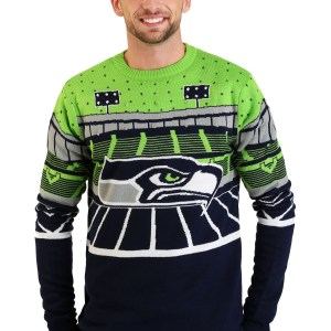 Seattle Seahawks Light Up Bluetooth Men's Ugly Christmas Sweater