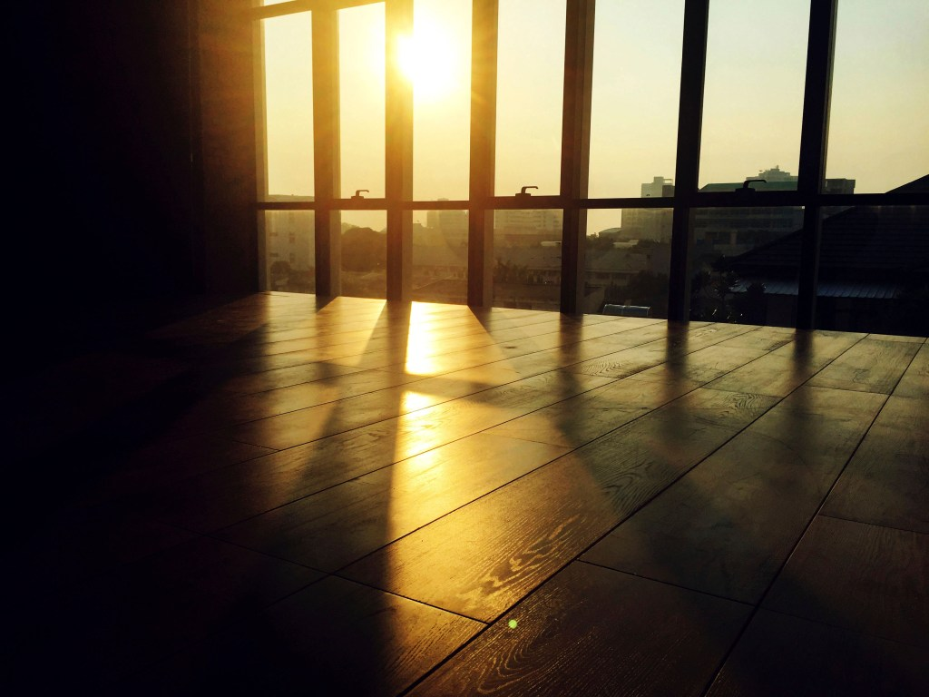 Winter sun low in the sky shining through window on hardwood floor