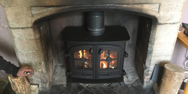 Installation of Yeoman Exe Wood burning stove in Wellington