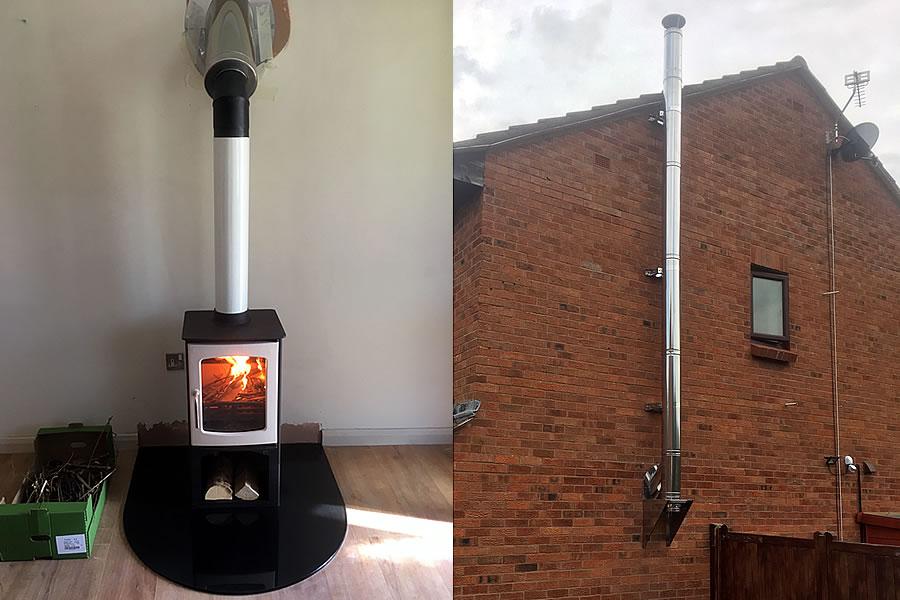 external twin wall wood burner installation minehead