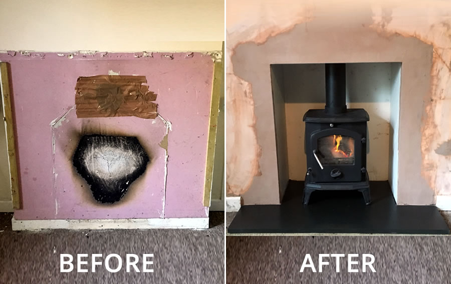 Fireplace Knockout and Woodburner Installation in West Huntspill