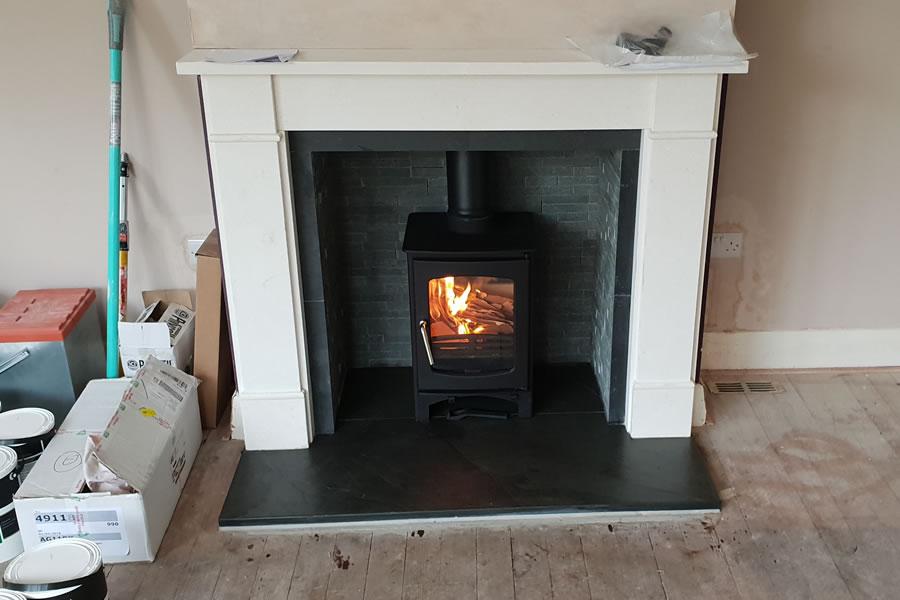 Wood burning stove installation in Taunton