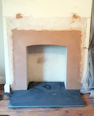 Install slate eharth and plaster surround