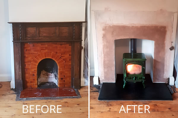 Woodburner installation in Minehead