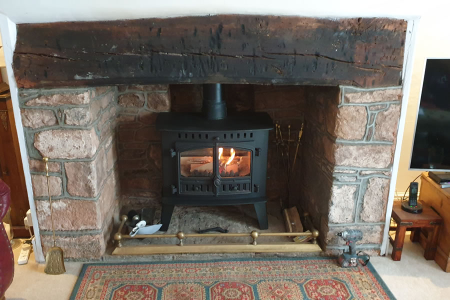 Installation of Hunter Inglenook Woodburning Stove in Dunster near Minehead
