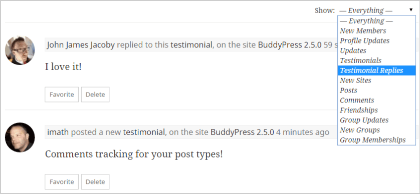 BuddyPress 2.5 - Comments for CPT tracking