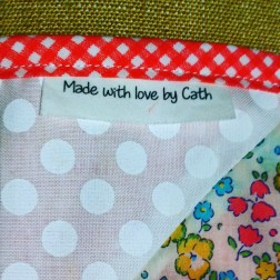 Close up of my binding and personalized label