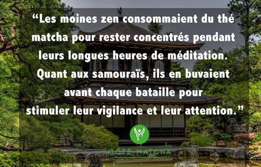 vertus thé matcha concentration moines zen vivacité samouraï
