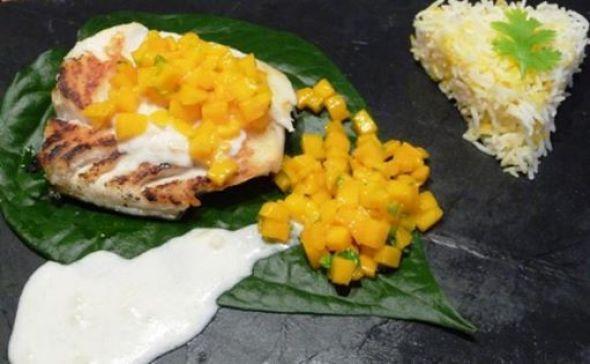 Cabillaud au lait de coco citron vert mangue
