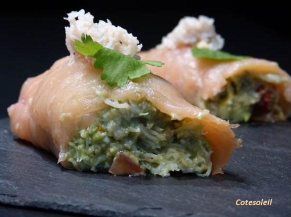 Roulade de saumon au crabe