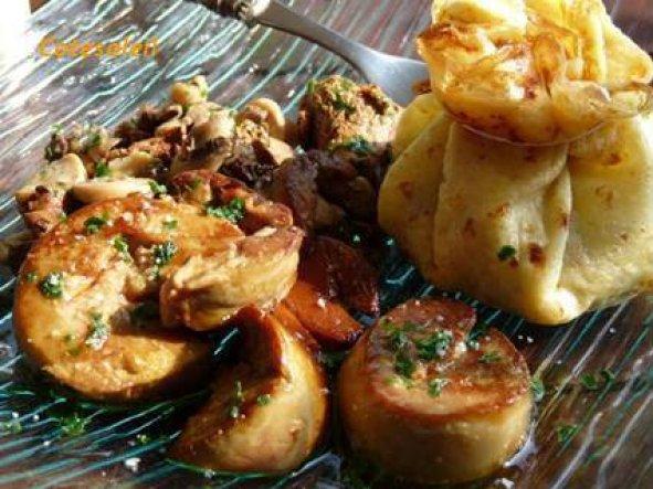 Aumonière de champignons foie gras