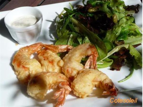 Beignets crevettes-tempura