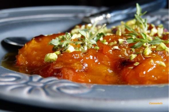 Abricots rôtis pistache & thym