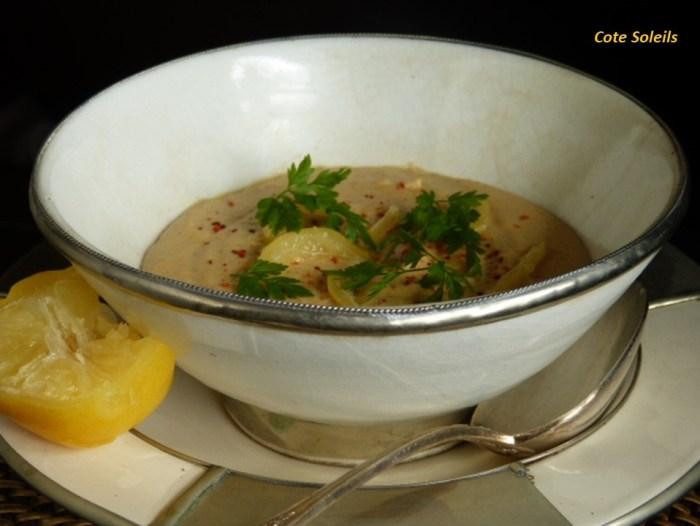 Crème de lentilles corail au ras el hanout & citrons confits