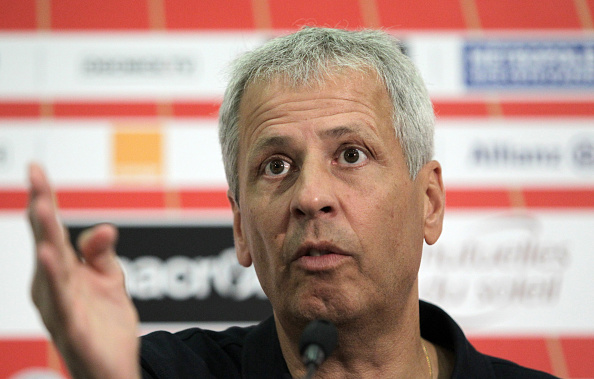 Nice's football head coach Lucien Favre answers journalists' questions during a press conference on August 9, 2016, at the Allianz Riviera stadium, in Nice, southeastern France. / AFP / JEAN CHRISTOPHE MAGNENET (Photo credit should read JEAN CHRISTOPHE MAGNENET/AFP/Getty Images)