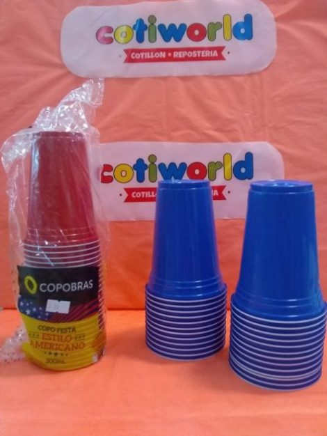 """Vasos de plastico """"Estilo Americano"""" x25 unidades xcolor (300ml)"""