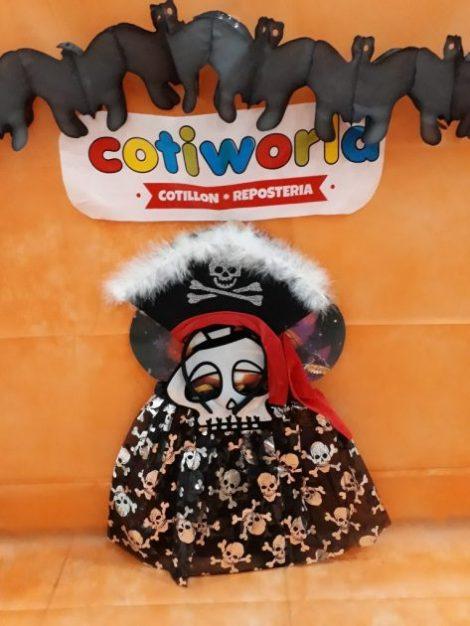 Set de niña pirata con tutu, vincha y mascara