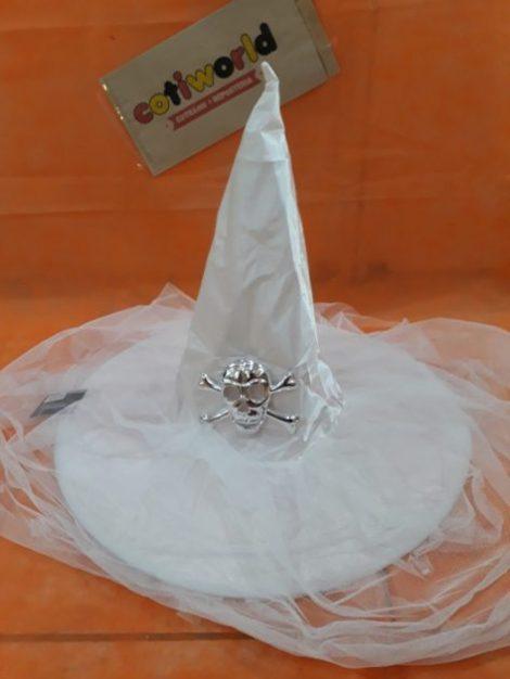 Sombrero bruja de tul y calavera