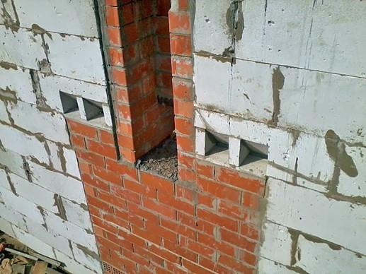 дымоход в несущей кирпичной стене