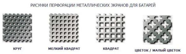 рисунки перфорации для отопительных батарей