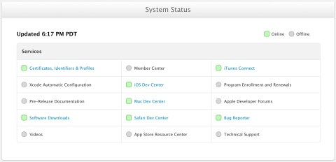 Apple Developer - System Status