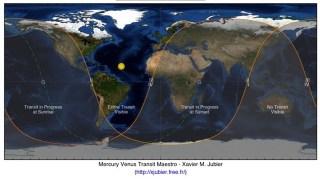 水星の太陽面通過 観測可能エリア