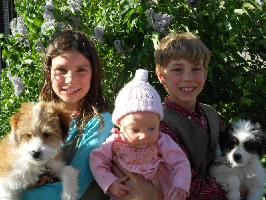 Our Children - Eliana, Adiel, and Silas with their puppies, Lassie and Snow