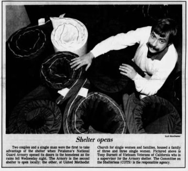 Argus-Courier file photo from 1988: the community opens its first COTS Shelter