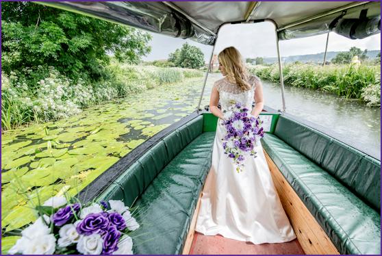 Bride Arrives on a boat bordered