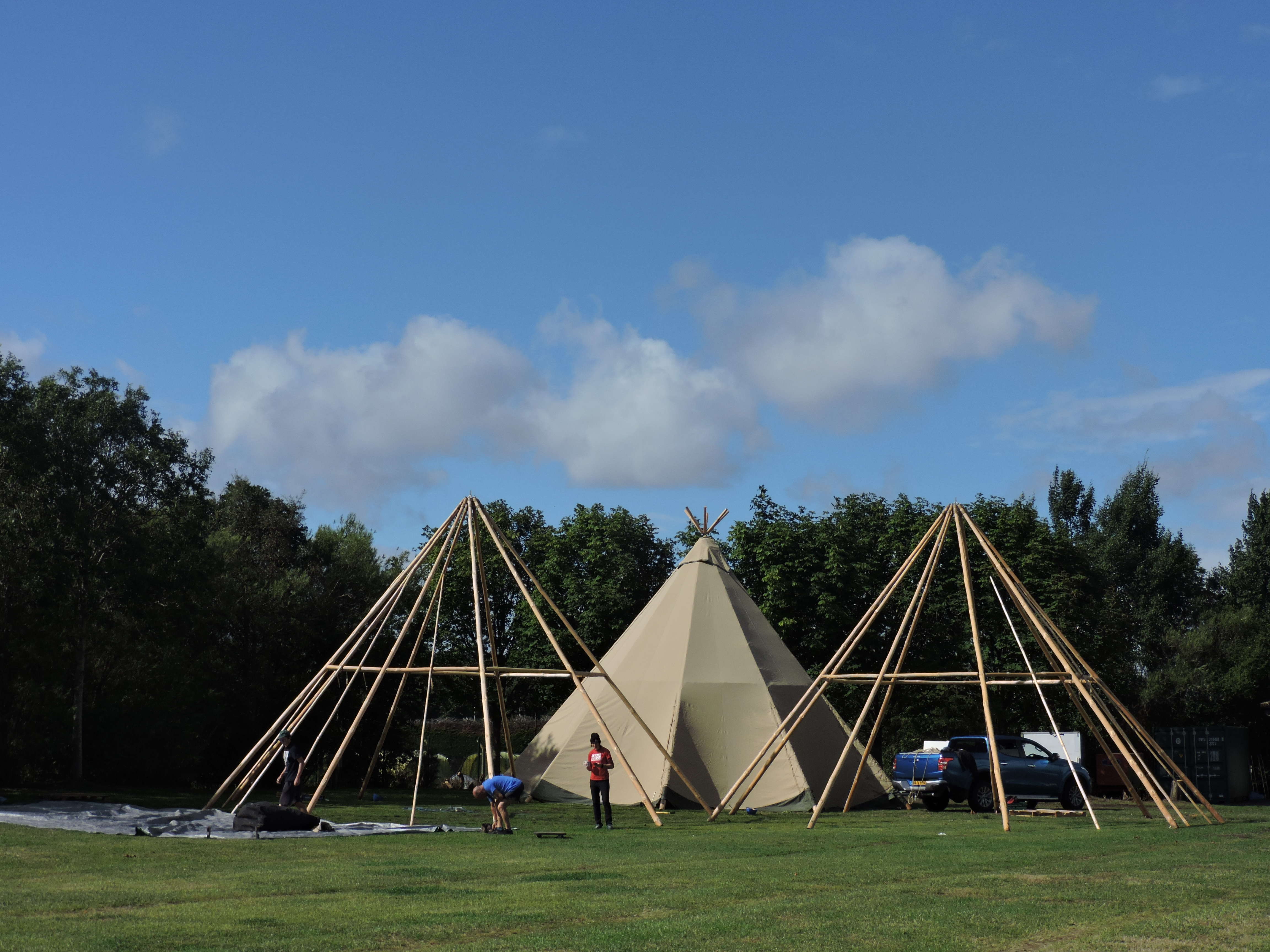 Cotswold Tipis setting up at Edinburgh Festival Camping